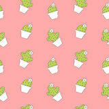 Cute cartoon lovely cactus on pink background seamless pattern illustration Royalty Free Stock Image