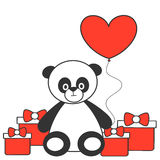 Cute cartoon lovely panda with heart balloon and gift box illustration Royalty Free Stock Images