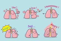 Cute cartoon lung set Royalty Free Stock Photos