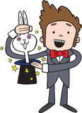 Cute Cartoon Magic Magician with Rabbit in a Hat. A cute hand drawn magician pulling a white rabbit out of a magic top hat Royalty Free Stock Photos