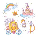 Cute cartoon magic princess icon collection. Icon princess set with princess castle, rainbow, brougham, royal crown and stock illustration