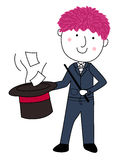 Cute Cartoon Magician With Hat and Wand Stock Images