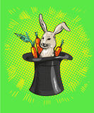 A cute cartoon magicians bunny rabbit coming out of a top hat with carrots Stock Photos