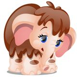 Cute cartoon mammoth isolated on white background. Vector close-up illustration.