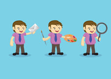 Cute Cartoon Man in Different Jobs Vector Illustration Royalty Free Stock Image