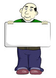 Cute cartoon man with a sign Stock Photo