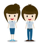 Cute cartoon  man and woman couple in stylish casual clothes Stock Image