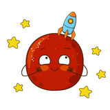 Cute cartoon Mars with rocket Royalty Free Stock Photos