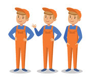 Cute cartoon mechanic boy.  Happy little worker. In an orange jumpsuit. Vector illustration  On White Background Stock Photography