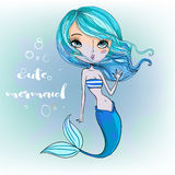 Cute cartoon mermaid. Cute cartoon beautiful colorful blue mermaid Stock Image