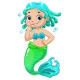 Cute cartoon mermaid blue hair Stock Image
