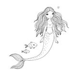 Cute cartoon mermaid and fish. Siren. Sea theme. isolated objects on white background. royalty free illustration