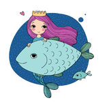Cute cartoon mermaid and fish. Siren. Sea theme. isolated objects on white background. Vector illustration Stock Photo