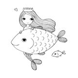 Cute cartoon mermaid and fish. Siren. Sea theme. isolated objects on white background. Vector illustration Royalty Free Stock Image