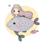 Cute cartoon mermaid and fish. Siren. Sea theme. isolated objects on white background. Vector illustration Royalty Free Stock Photography