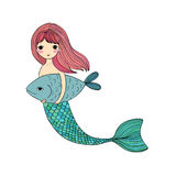 Cute cartoon mermaid and fish. Siren. Sea theme. isolated objects on white background. Stock Photo