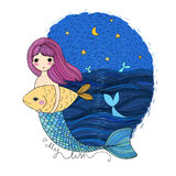 Cute cartoon mermaid and fish. Siren. Sea theme. isolated objects on white background. Royalty Free Stock Photos