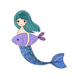 Cute cartoon mermaid and fish. Siren. Sea theme. isolated objects on white background. Vector illustration Stock Images