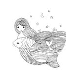 Cute cartoon mermaid and fish. Siren. Sea theme. isolated objects on white background. Vector illustration Royalty Free Stock Images