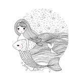 Cute cartoon mermaid and fish. Siren. Sea theme. isolated objects on white background. Vector illustration Stock Image