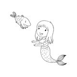 Cute cartoon mermaid and fish. Siren. Sea theme.  objects on white background. Stock Photo