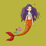 Cute cartoon mermaid and fish. Siren. Sea theme.  objects on white background. Vector illustration Stock Image