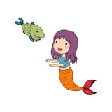 Cute cartoon mermaid and fish. Siren. Sea theme.  objects on white background. Vector illustration Royalty Free Stock Images