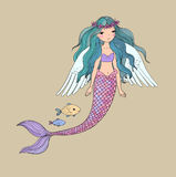 Cute cartoon mermaid and fish. Siren. Sea theme.  objects on white background. Vector illustration Royalty Free Stock Photo