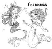 Cute cartoon mermaids. Cute cartoon beautiful mermaids with long hairs Royalty Free Stock Image