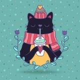 Cute cartoon Merry Christmas card with cat Royalty Free Stock Photos