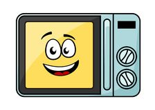 Cute cartoon microwave oven. With a cheerful yellow smiling face behind the glass door, vector illustration isolated on white Stock Photo