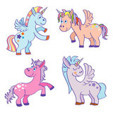 Cute cartoon miracle unicorns vector set. Happy horse with horn illustration Royalty Free Stock Photography
