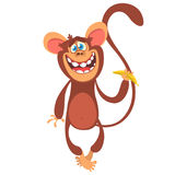 Cute cartoon monkey character icon. Vector illustration royalty free stock image