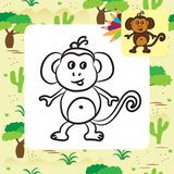 Cute cartoon monkey. Coloring page Royalty Free Stock Photography