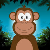 Cute cartoon monkey in front of jungle background Stock Photography