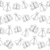 Cute cartoon monochrome butterflies and bugs. Vector seamless pattern. Stock Photos