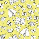 Cute cartoon monochtome insect set. Dragonflies, butterflies and bugs. Vector seamless pattern. Royalty Free Stock Photos