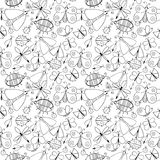 Cute cartoon monochtome insect set. Dragonflies, butterflies and bugs. Vector seamless pattern. Stock Photos