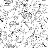 Cute cartoon monochtome insect set. Dragonflies, butterflies and bugs. Vector seamless pattern. Stock Photography