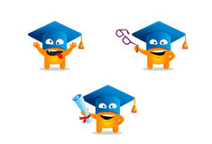 Cute cartoon monster with a academic hat. Cute cartoon monster with a square graduation hat and diploma. Vector illustration Stock Photo