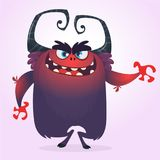 Cute cartoon monster. Angry dark blue monster with big mouth. Halloween vector illustration. Stock Images