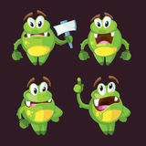 Cute cartoon monster character in different poses vector illustration Royalty Free Stock Photography