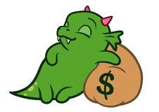 Cute cartoon monster dragon sleeping on bag of money. Vector hand drawn cartoon character illustration of a funny cute fat green friendly dragon monster with Stock Images