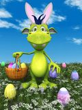 Cute cartoon monster with easter basket. Stock Image