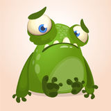 Cute cartoon monster. Halloween vector illustration of upset monster alien. Stock Image