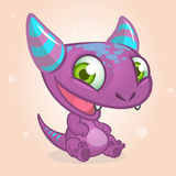 Cute cartoon monster. Halloween vector purple horned monster character.  Stock Photography