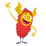Cute cartoon monster. Halloween vector red monster. Royalty Free Stock Photo