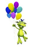 Cute cartoon monster holding balloons. Royalty Free Stock Photo