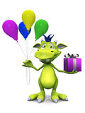 Cute cartoon monster holding balloons and a gift. Royalty Free Stock Photos