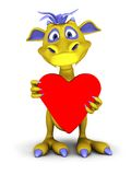 Cute cartoon monster holding big red heart. Stock Photo